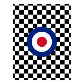 Checkered Black Racing Target Mod Postcard