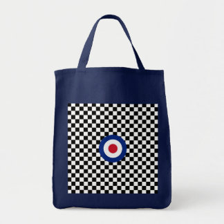 Checkered Black Racing Target Mod Tote Bag