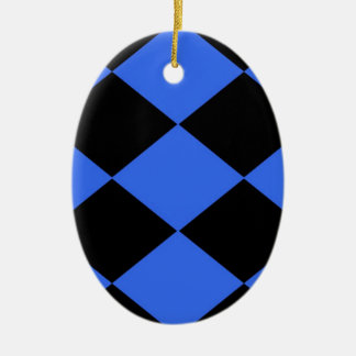 Checkered (Blue & Black) Christmas Ornament