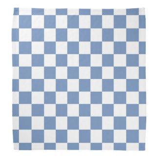 Checkered Blue/Gray and White Bandana