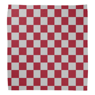 Checkered Burgundy and Silver Bandana