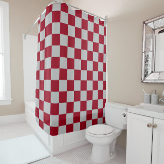 Checkered Burgundy And Silver Shower Curtain