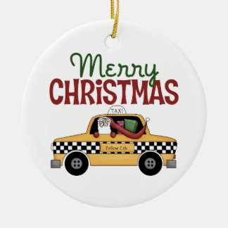 Checkered Cab Christmas Gift Round Ceramic Decoration