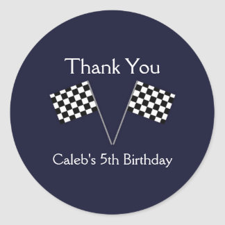 Checkered Car Racing Flags Birthday Party Stickers