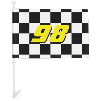 Checkered car window flag with auto racing number car flag