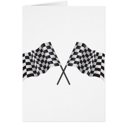 checkered cross flags card