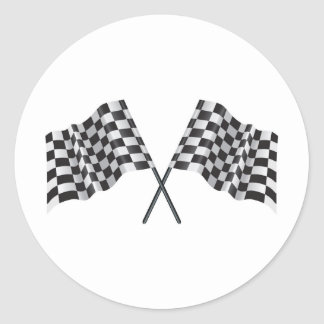 checkered cross flags classic round sticker