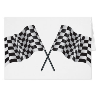 checkered cross flags greeting card