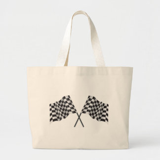checkered cross flags large tote bag