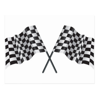 checkered cross flags postcard