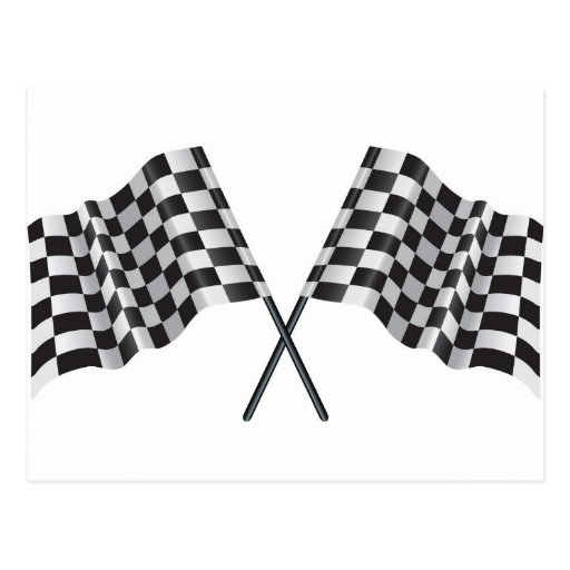 checkered cross flags postcard