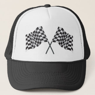 checkered cross flags trucker hat