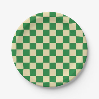 Checkered Dark Green and Beige 7 Inch Paper Plate