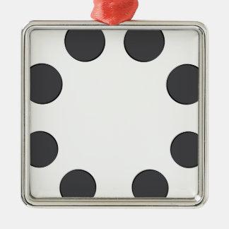 Checkered DarkGrey Dots Christmas Ornament