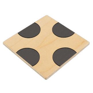 Checkered DarkGrey Dots Wood Coaster