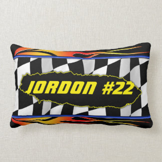 Checkered flag and flames lumbar cushion