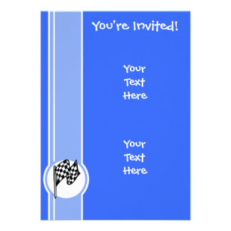 Checkered Flag Blue Invitation