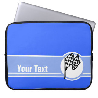 Checkered Flag; Blue Laptop Sleeve