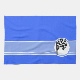 Checkered Flag; Blue Tea Towel