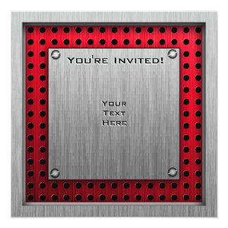 Checkered Flag; brushed aluminum look 13 Cm X 13 Cm Square Invitation Card