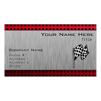 Checkered Flag; brushed aluminum look Double-Sided Standard Business Cards (Pack Of 100)