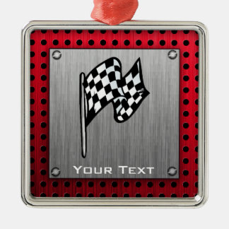 Checkered Flag; brushed aluminum look Christmas Ornament
