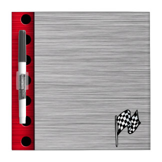 Checkered Flag; brushed aluminum look Dry Erase Board