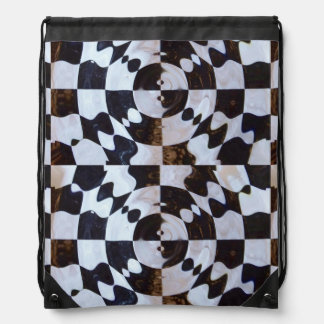 Checkered Flag Distorted Drawstring Bags
