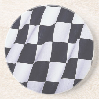 Checkered flag drink coaster