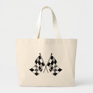 checkered flag large tote bag