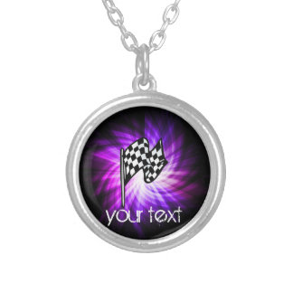 Checkered Flag; purple Silver Plated Necklace