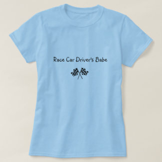 checkered flag;  Race Car Driver's Babe T-Shirt