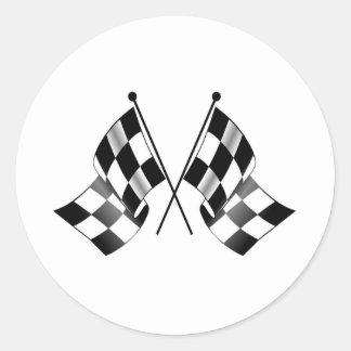 checkered flag round sticker
