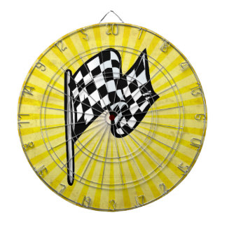 Checkered Flag; yellow Dartboard