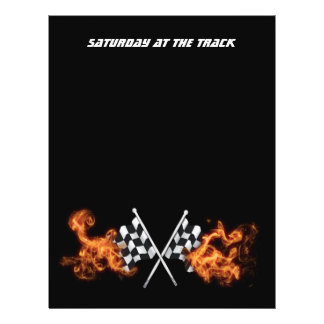Checkered flags on fire 21.5 cm x 28 cm flyer