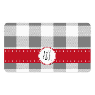 Checkered Gingham Pattern - Gray White Business Card
