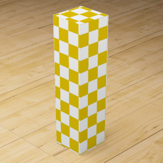 Checkered Gold and White Wine Boxes