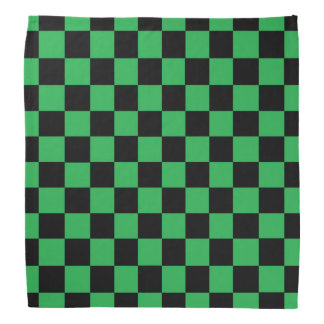 Checkered Green and Black Bandana