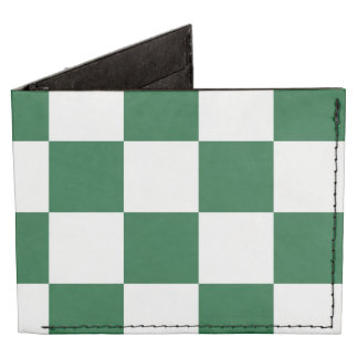 Checkered Green and White Billfold Wallet