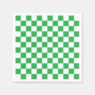 Checkered Green and White Paper Serviettes