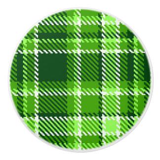Checkered Green Color Pattern Ceramic Knob
