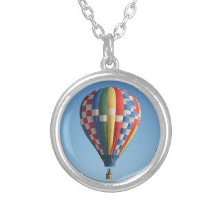 Checkered Hot Air Balloon New Mexico Round Pendant Necklace