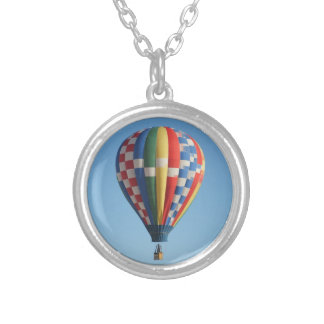 Checkered Hot Air Balloon New Mexico Silver Plated Necklace