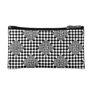 Checkered Illusion Cosmetic Bag