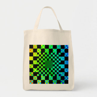 Checkered Illusion Grocery Tote Canvas Bags