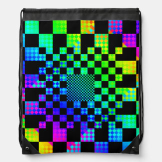 Checkered Illusion Drawstring Backpack