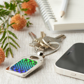 Checkered Illusion Silver-Colored Rectangle Key Ring