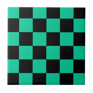 Checkered Large - Black and Caribbean Green Small Square Tile