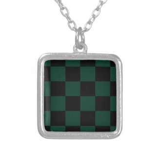 Checkered Large - Black and Dark Green Square Pendant Necklace
