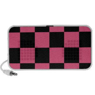 Checkered Large - Black and Dark Pink Travel Speaker